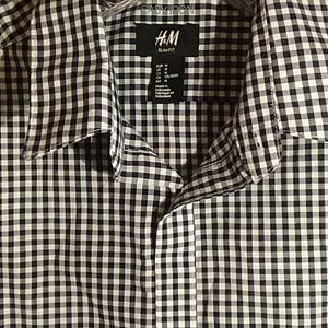 ♥ H&M men's black and white button down